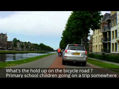 A school trip by bike in Assen, Netherlands