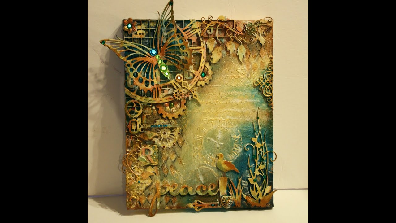 Mixed media canvas tutorial peace youtube for 3d canvas ideas