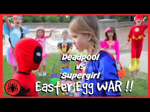 Little Heroes Kid Deadpool vs Supergirl Surprise Egg Hunt! Superheroes in Real Life | Superhero Kids