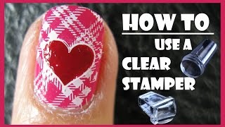 HOW TO USE A CLEAR STAMPER FOR STAMPING NAIL ART DESIGNS PINK PLAID NAILS | MELINEY