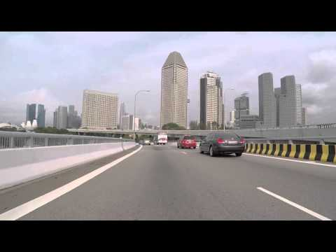 Singapour Route vers centre ville, gopro / Singapore Road to city center, Gopro