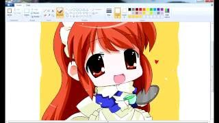 (MS Paint) Mouse speedpaint - Drawing cute anime Girl