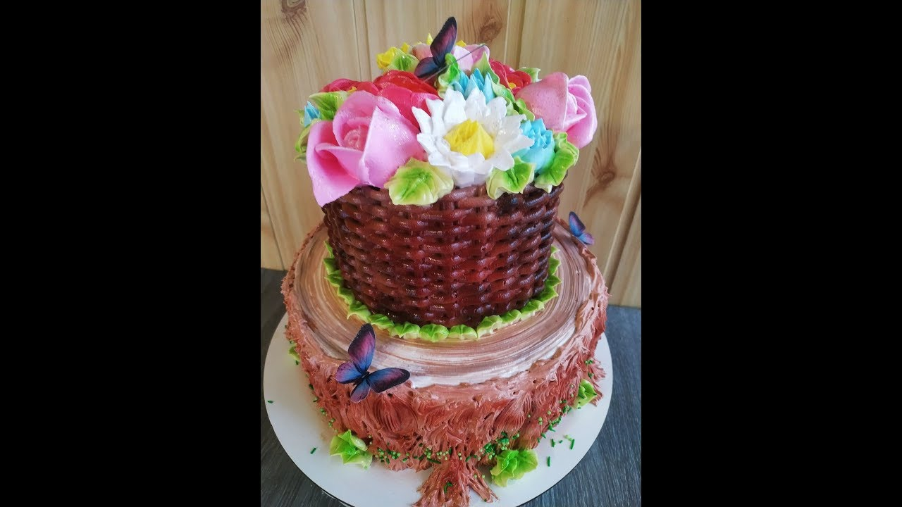 БЕЛКОВО ЗАВАРНОЕ украшение торт. Цветы из белкового крема. ТОРТ корзина с цветами.  Юлия Клочкова.
