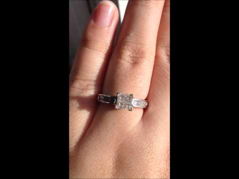 Zale's 3/4 CTW Princess Quad 14K White Gold Engagement Ring