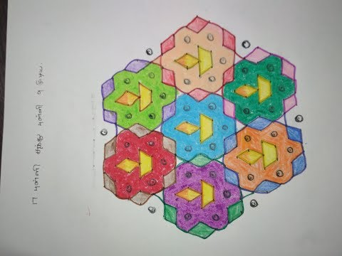 17 Pulli Kolam Designs with dots - 17 Pulli Kolangal - 17 Dots Kolam