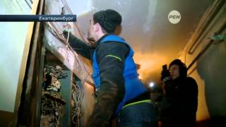 В Екатеринбурге разобрали стену жилого дома для освобождения котенка
