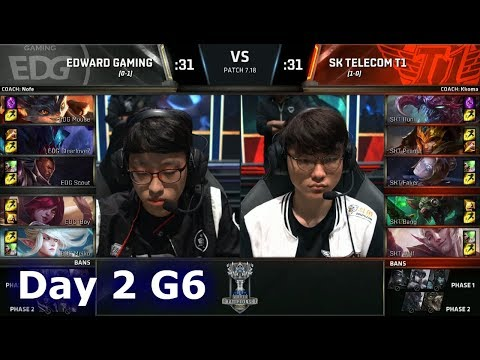 SK Telecom T1 vs Edward Gaming | Day 2 Main Group Stage S7 LoL Worlds 2017 | EDG vs SKT G1