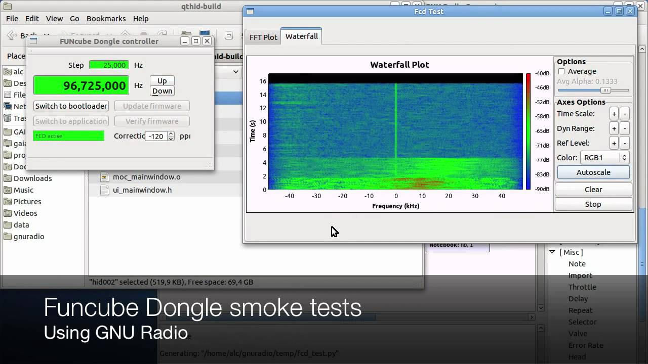 Funcube Dongle smoke testing using GNU Radio