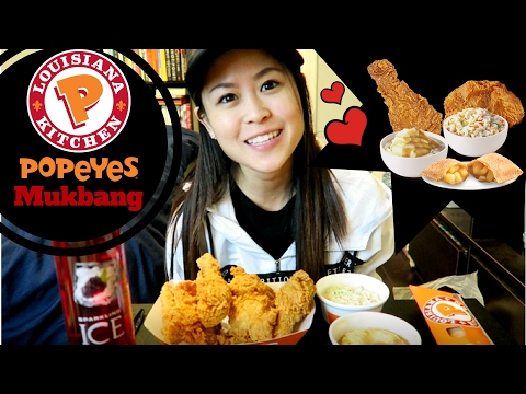 Popeyes MUKBANG/ Eating Show| Fried Chicken + Sides + Apple Pie