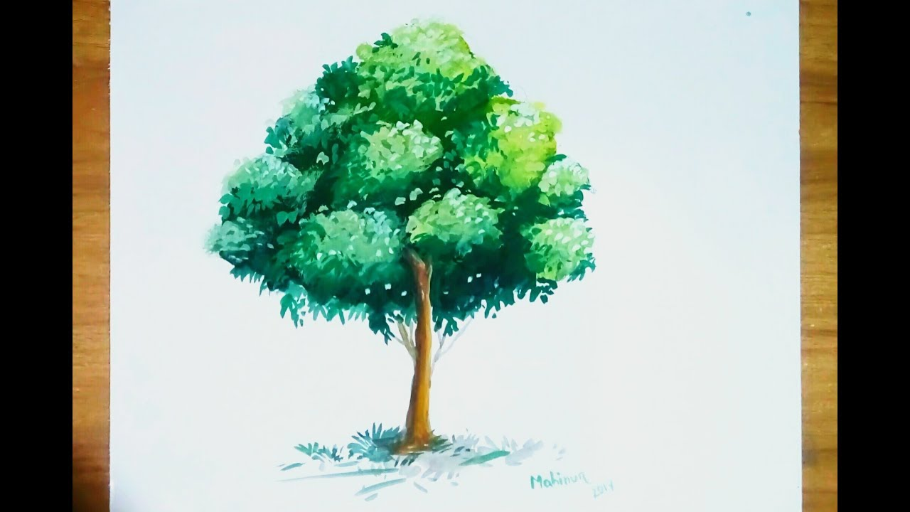Poster color painting beautiful tree...step by step... - YouTube