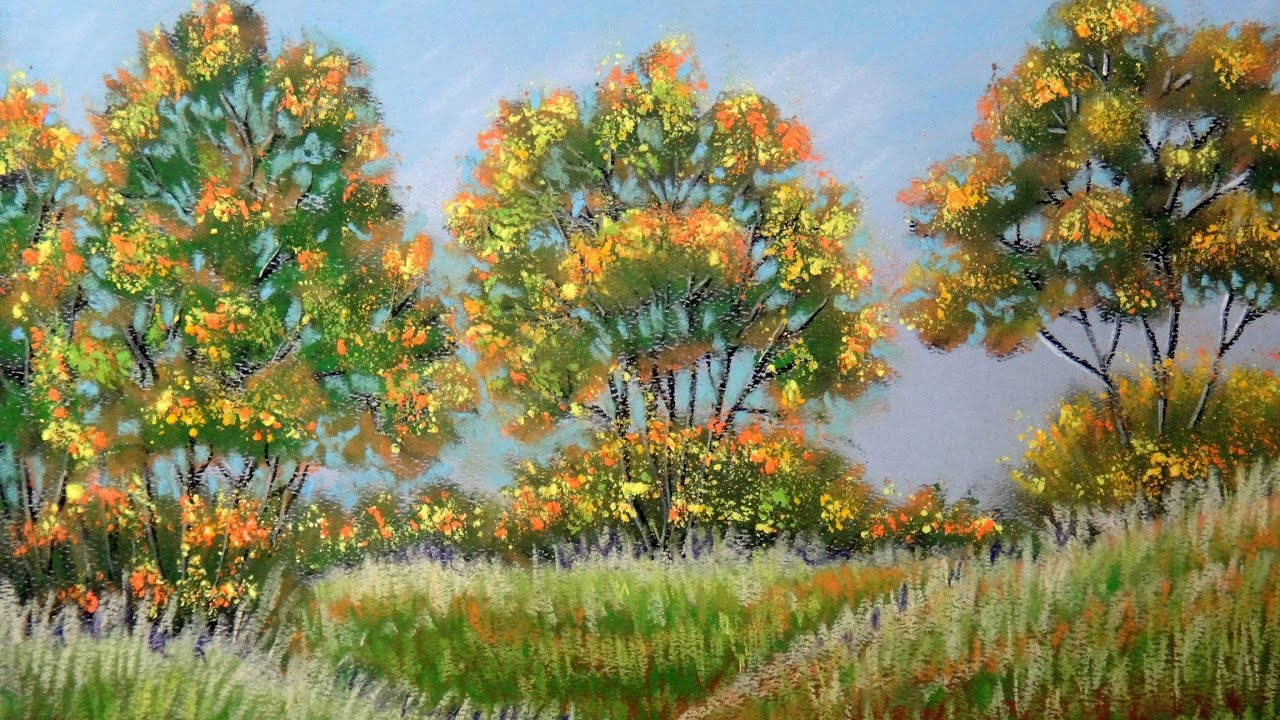 How to paint autumn landscape with Pastel - Fall Color (Pastel ...