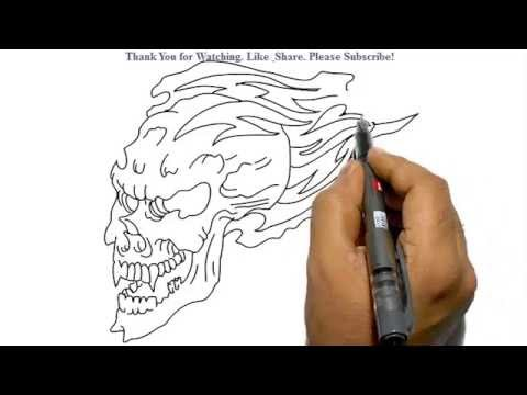 How To Draw A Skull In Flames Youtube