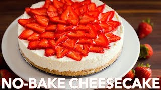 The Best No-Bake Cheesecake Recipe with Strawberry Topping