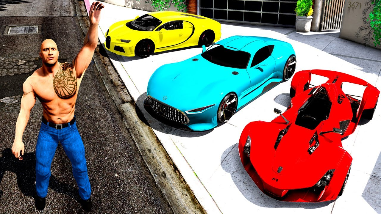 Collecting THE ROCK'S SUPER CARS in GTA 5! - download from YouTube for free
