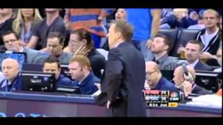 Hasheem Thabeet argues with James Harden