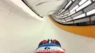 Олимпиада в Сочи 2014:Бобслей, трасса от первого лица.