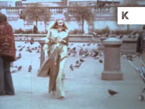 1970s London Fashion, Models In Trafalgar Square, Archive Footage
