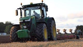 John Deere 7290R working hard in The Field Ploughing w/ 5-Furrow Kverneland Plough | DK Agri