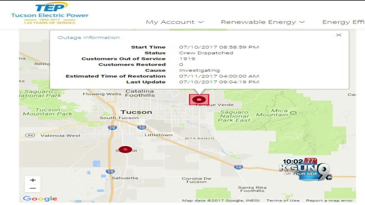 Tep Power Outage On East Side Near Tanque Verde Youtube