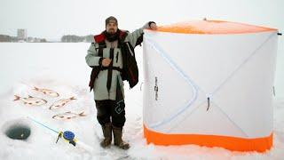 ВПЕРВЫЕ поставил ПАЛАТКУ на льду Зимняя РЫБАЛКА на ПОПЛАВОК 2021