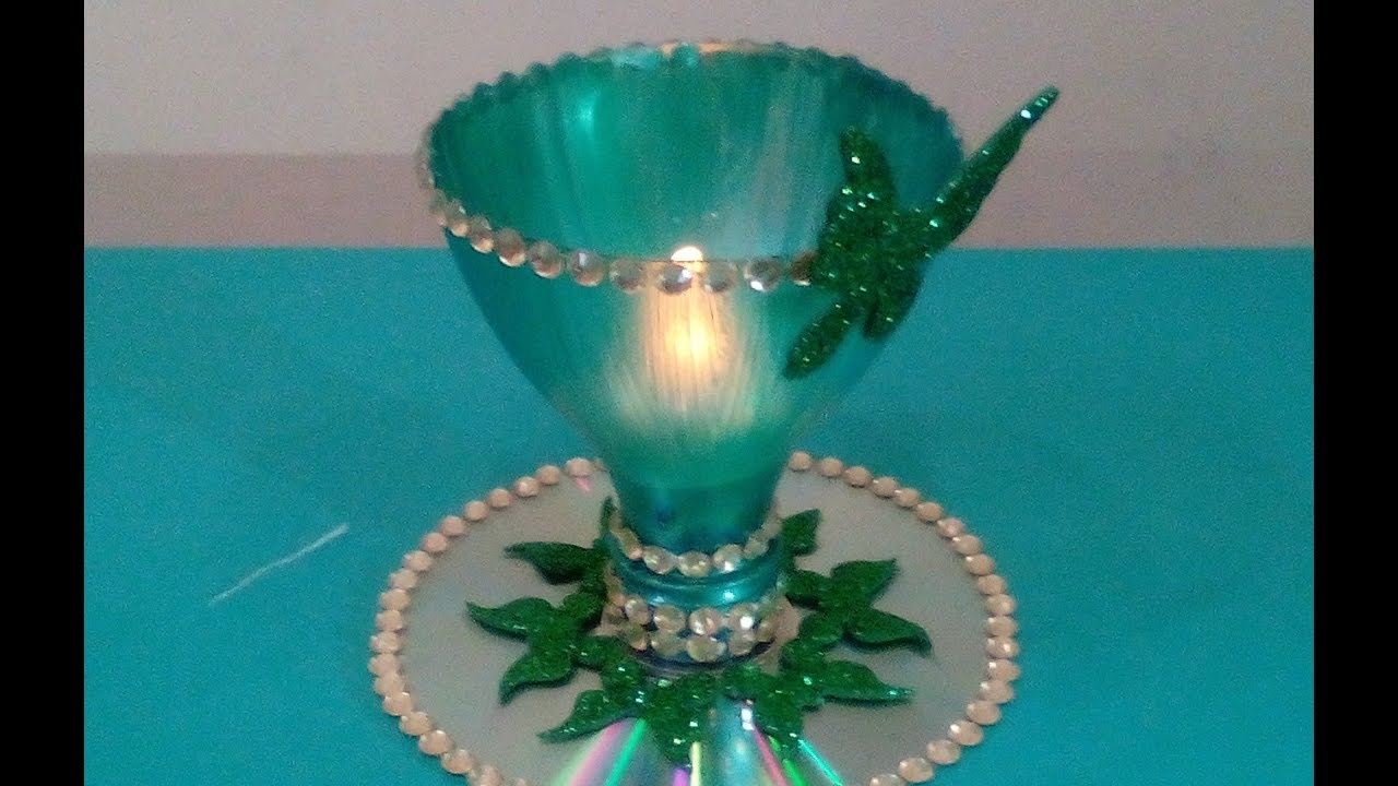 Stream best out of waste candle holder 1638 on mucis online for Waste to wealth craft ideas