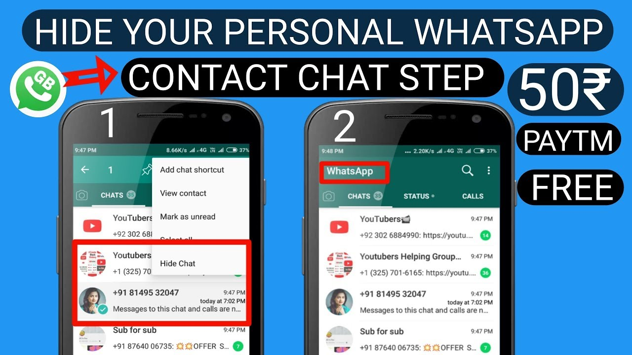 how to whatsapp number hide in hindi | how to Hide Your Personal Contacts Chat On Whatsapp 2018 #1