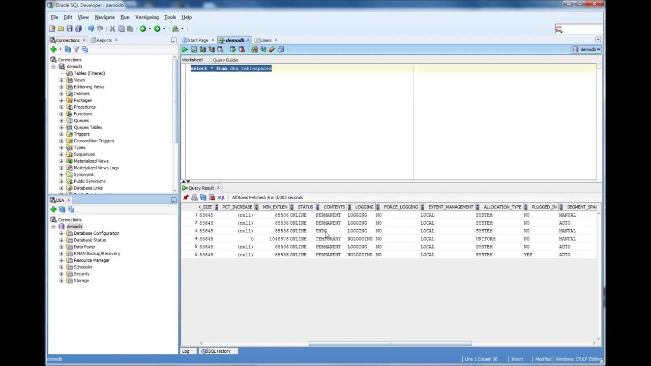 How to find the tablespaces in an Oracle Database - Database Tutorial 55 -  Oracle DBA Tutorial