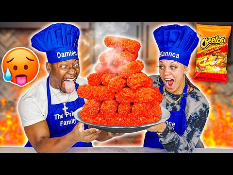 GIANT FLAMIN' HOT CHEETOS MOZZARELLA STICKS | COOKING WITH THE PRINCE FAMILY