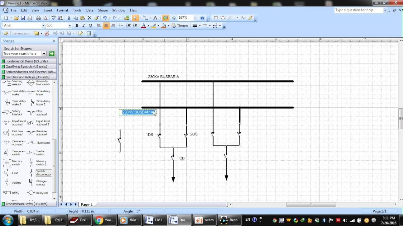 Drawing Lines In Visio : Visio creating diagram substation part microsoft