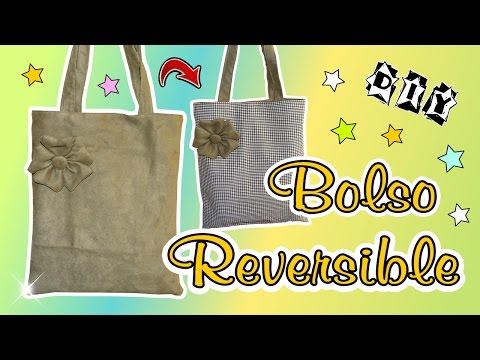 DIY Como hacer un bolso tote reversible con Flor de tela en 3d muy facil