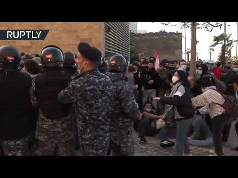 Police clashing with university students in Beirut