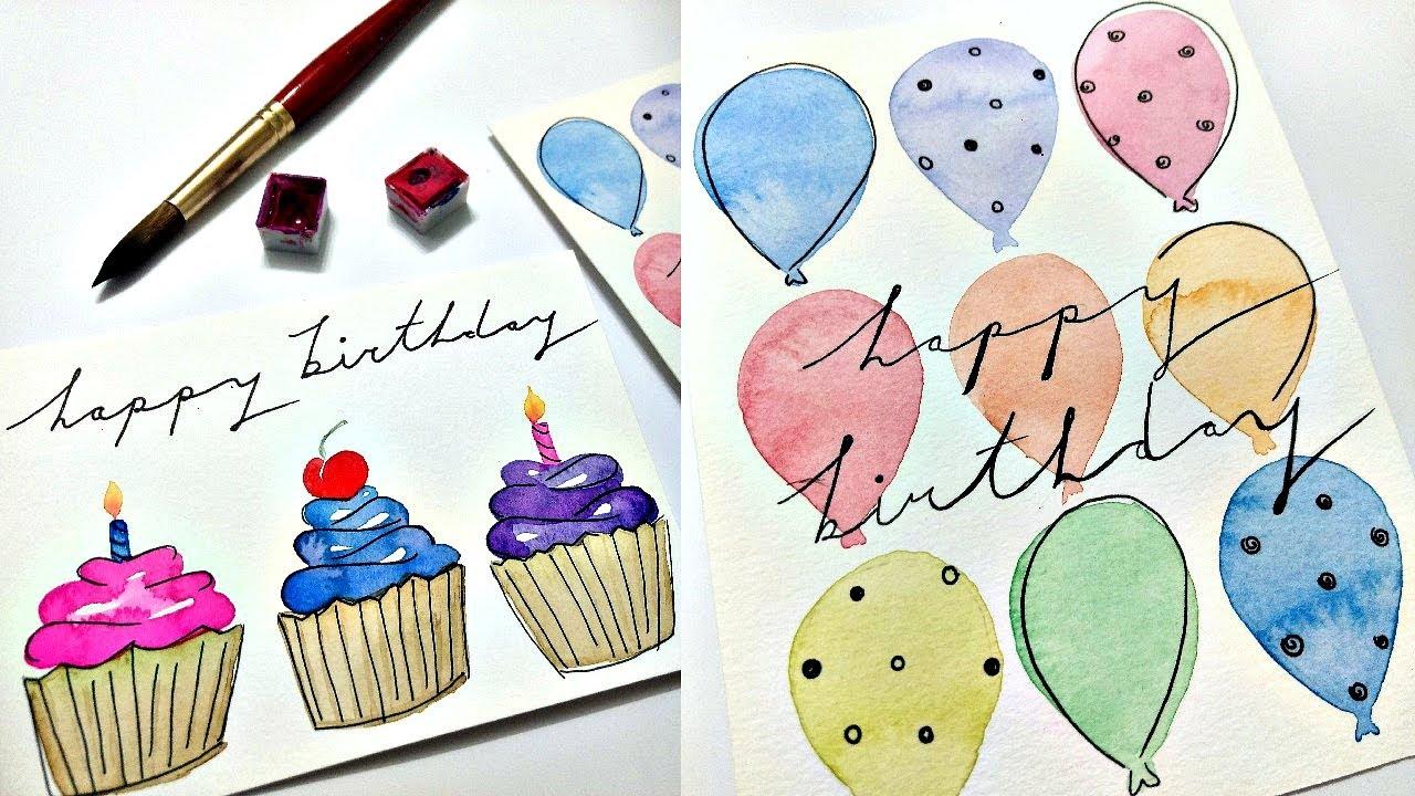 Watercolor birthday card tutorial Part 5  Fun and easy birthday card ideas