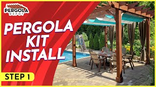 Step One In How To Install A Pergola Kit (layout)