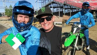 dirt bike experience with ricky carmichael riding on a supercross track