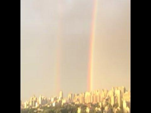 Beijing's Twinned Rainbow Gone Viral on Social Media