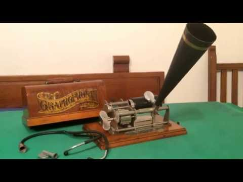 "Nice Columbia B ""Eagle"" phonograph for office registration-Beau phonographe pour bureau Columbia"