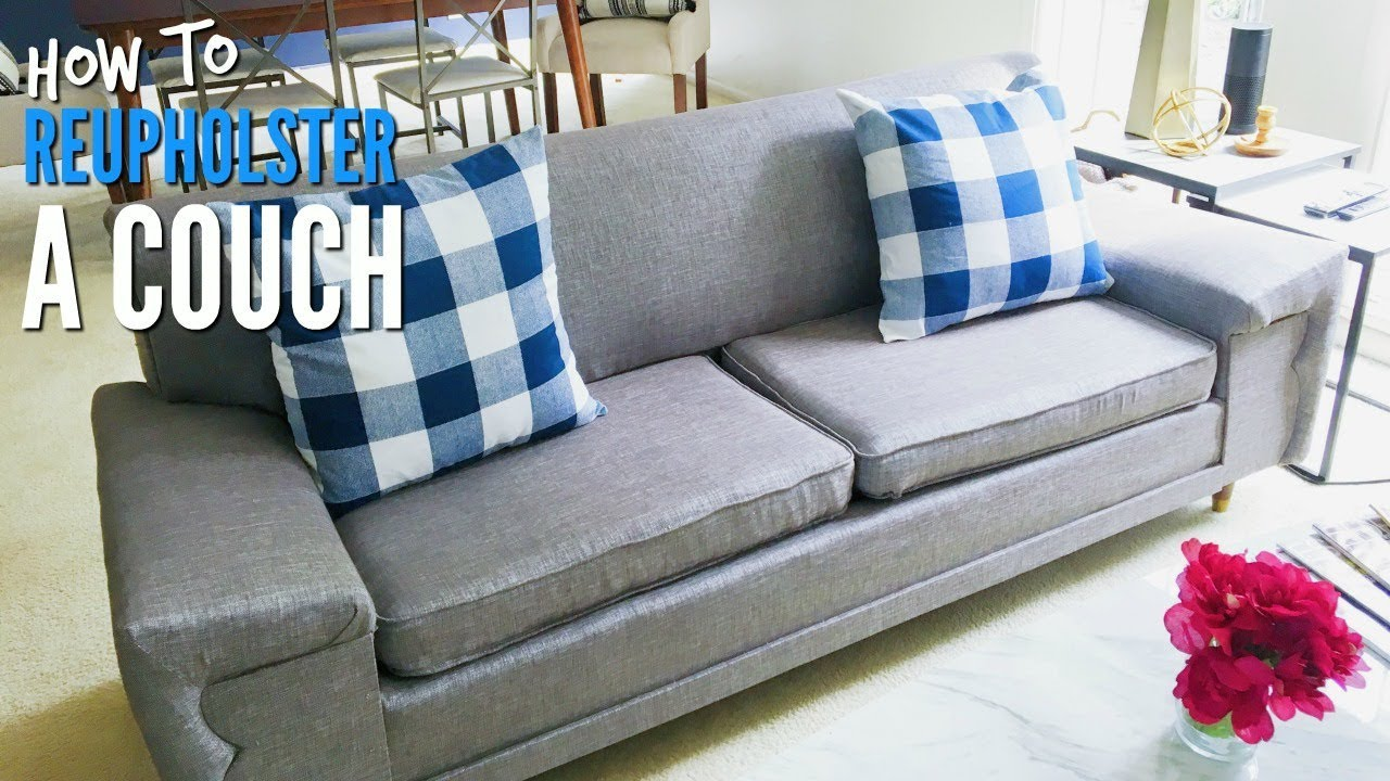 how to recover a sofa without sewing small es sectional walmart decorating interior of your diy reupholster mid century modern couch tutorial rh youtube com