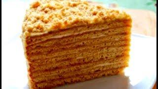 Медовик! Медовый торт! Домашний видео рецепт торта Медовый с заварным кремом!Honey cake!