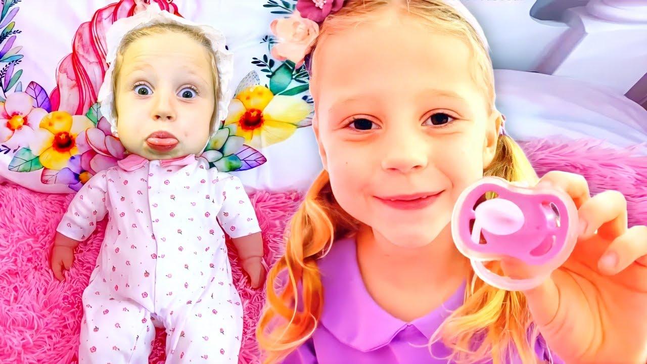 Nastya encontrou a boneca e finge ser sua mãe