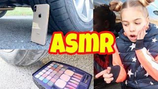 Aplastando cosas CRUNCHY y SUAVES con un coche - Probando ASMR con iphone , Maquillaje y más!
