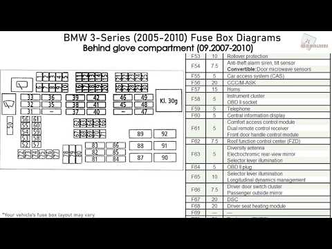 BMW 3-Series (2005-2010) Fuse Box Diagrams - YouTube 2005 Bmw Fuse Box YouTube