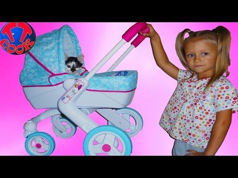Коляска для куклы котенок и Ярослава. Игрушки для девочек Stroller for Baby Dolls Unboxing Toy