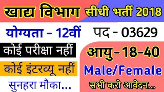 New Vacancy in Food Department || 12th Pass New Government Job