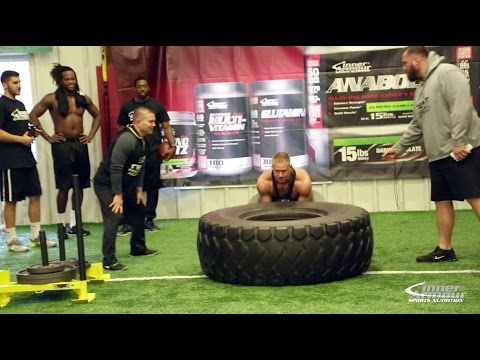 Tire Flip Challenge Bodybuilders vs Football Players
