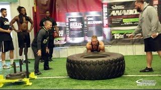 Tire Flip Challenge Bodybuilders vs Football Players