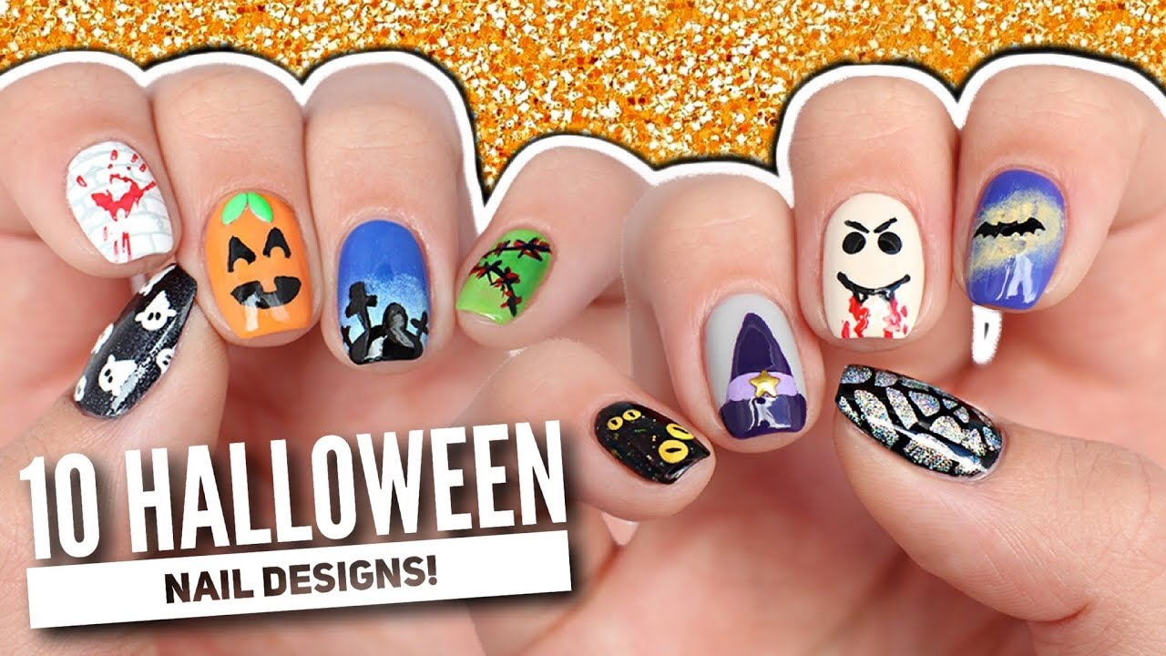 10 Halloween Nail Art Designs: The Ultimate Guide 2017! - YouTube
