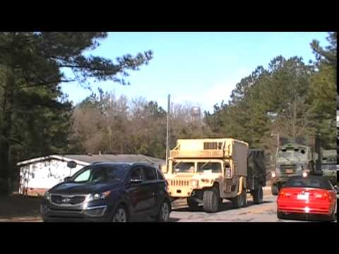 Marine Corps Convoy Traveling From Fort Bragg, NC