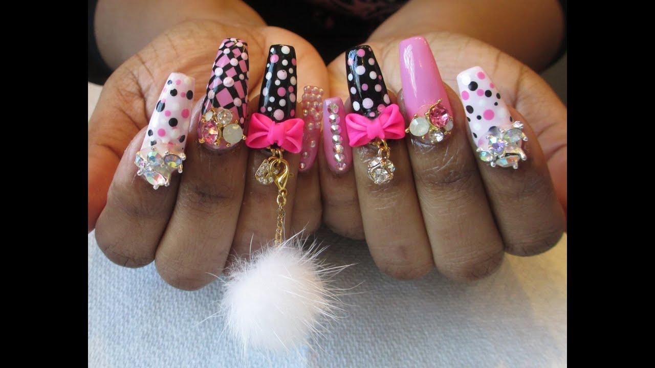 Pink Kawaii Nails - YouTube