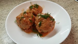 #Тефтели Ёжики с рисом. Рецепт с подливой, на сковороде глубокой.