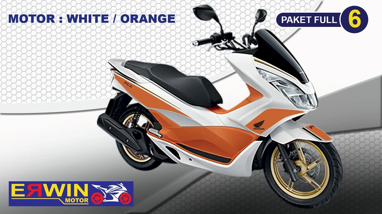 Modif Honda Pcx 2018 Warna White Orange Youtube